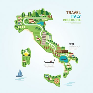 Infographic italy map shape template design.