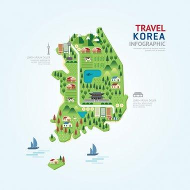 Infographic travel korea map shape template design.