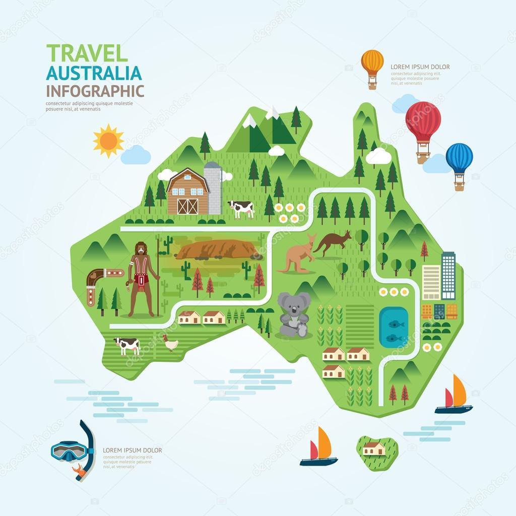 Infographic australia map shape template design stock for Map designer free