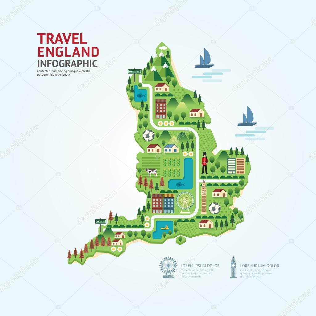 Map Of England Template.Infographic England Map Shape Template Design Stock Vector