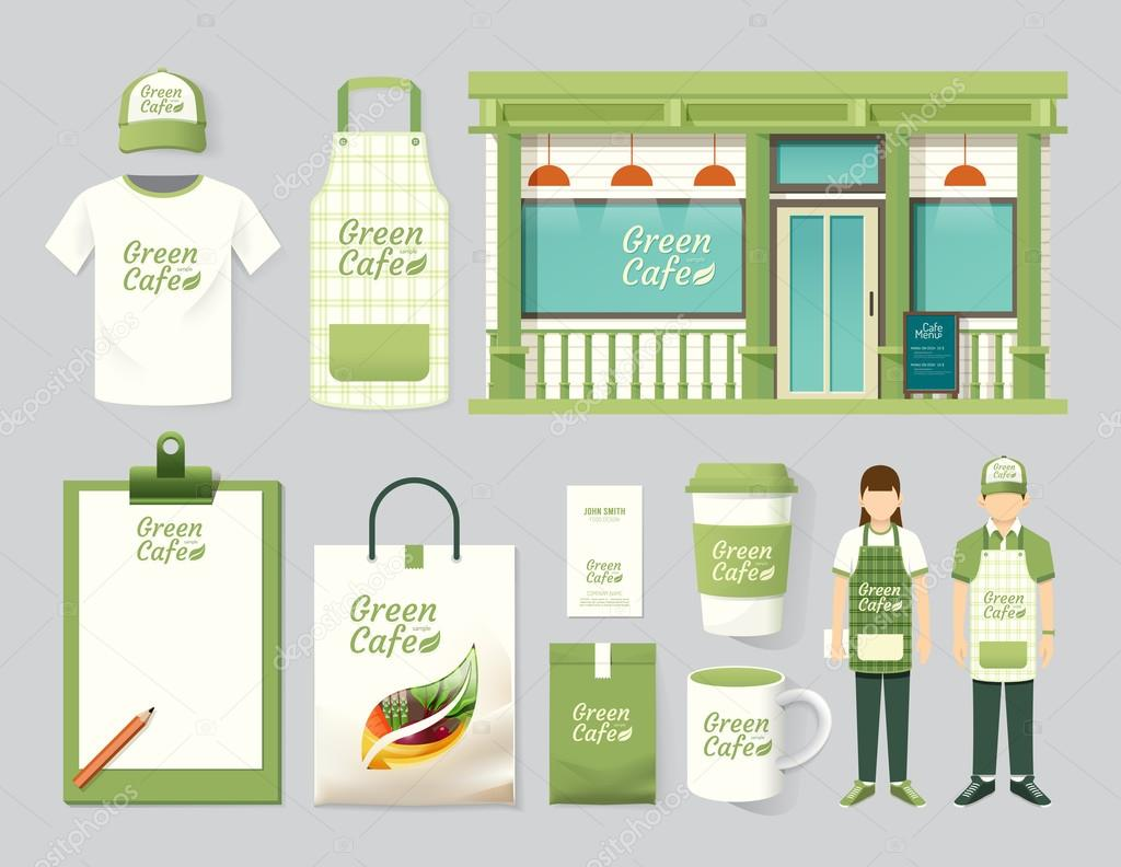 restaurant set of corporate identity mock up template stock
