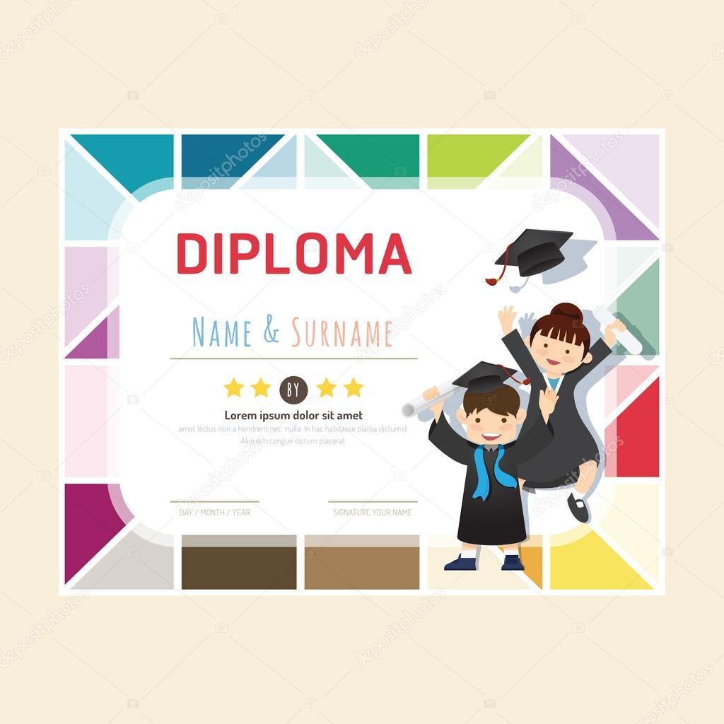 Certificado diploma de niños — Archivo Imágenes Vectoriales ...