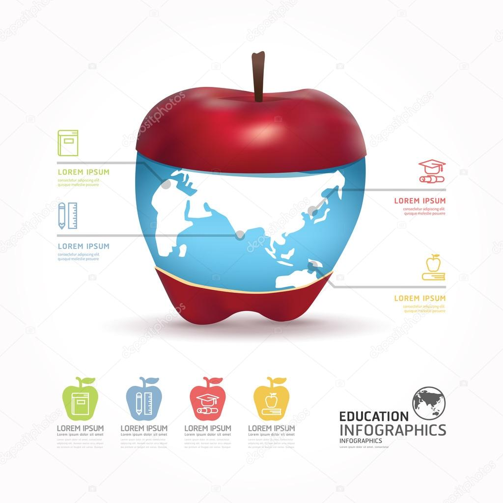 Abstrakt Infographik Designwelt mit Apfel-Vorlage / werden kann ...
