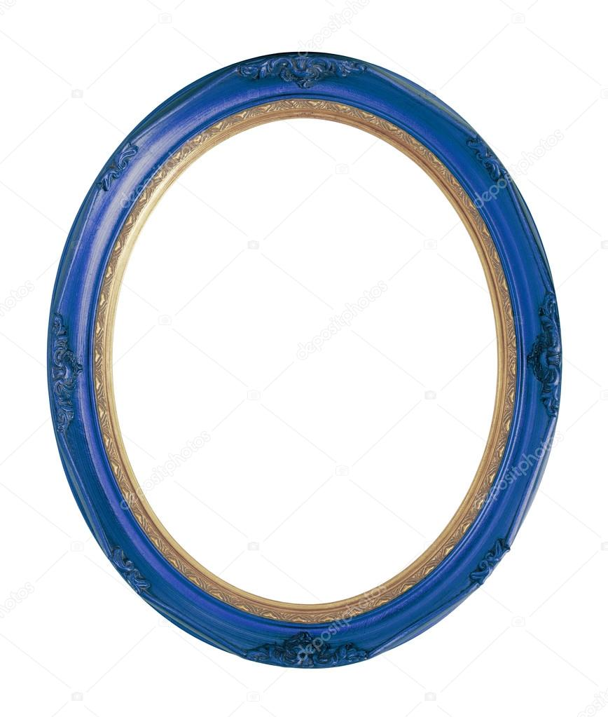 Blue Vintage Oval Bilderrahmen isoliert, Beschneidungspfad ...