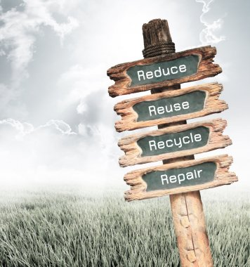 Wooden sign with Reduce, Reuse, Recycle and Repair and wording e