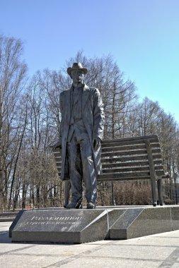 Veliky Novgorod, Russia - April 18, 2015:  Monument to Sergei Rachmaninoff.