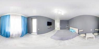 Interior of bedroom. Modern minimalism style bedroom interior in monochrome tones