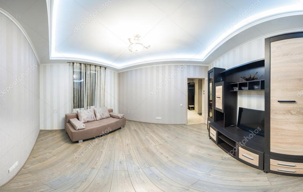 Panorama Tv Meubel.Spacious Room With Furniture Large Closet And Tv Stock Photo