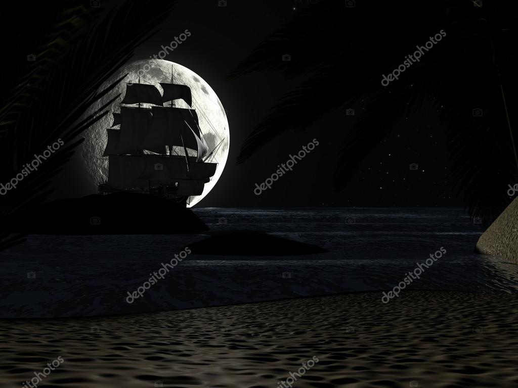 Tropical Beach at Night Moonlight, with Sailboat.