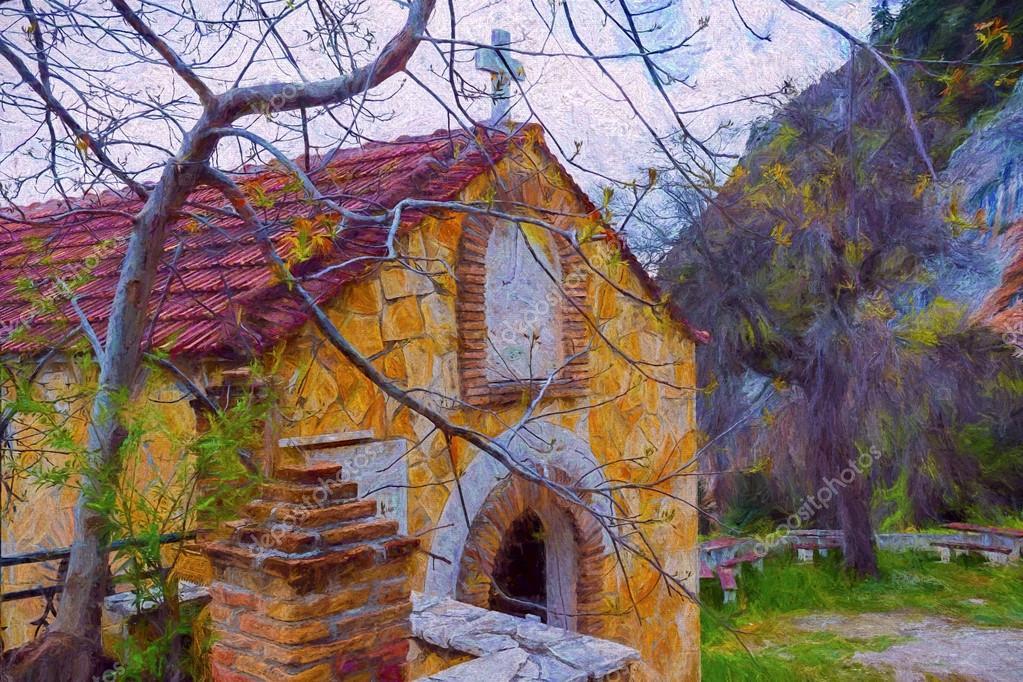 Rural Greek Church - Painting effect