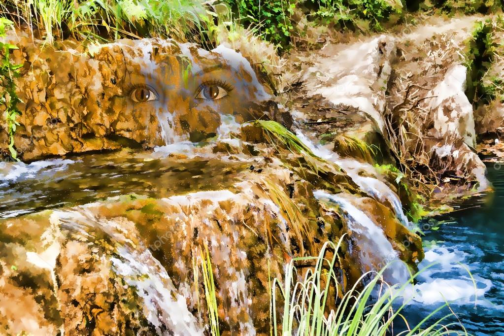 Mountain Lake and Waterfall with face of a Nymph - Painting effect