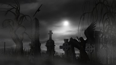 Dark Angel at a graveyard on a foggy night with full moon