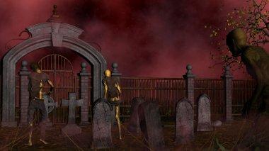 Walking dead in spooky foggy cemetery