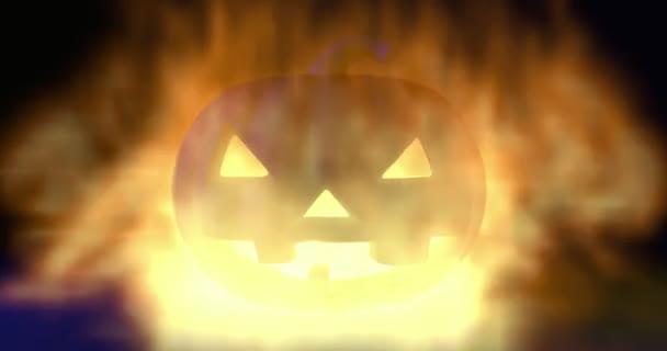 Hořící Halloween strašidelné dýně v ohni.