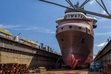 Ship in dry dock at the shipyard