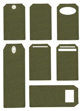 Set of green blank cardboard tags