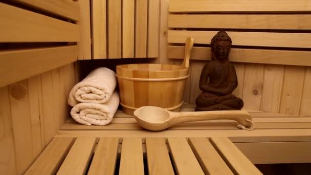 Simboli fayurveda sauna per il relax e interno ootage di bellezza