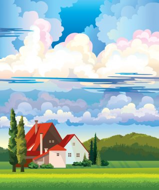 Summer landscape with hut and meadow.