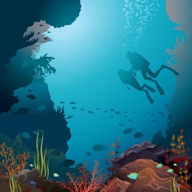 Scuba vivers and coral reef. Underwater vector.