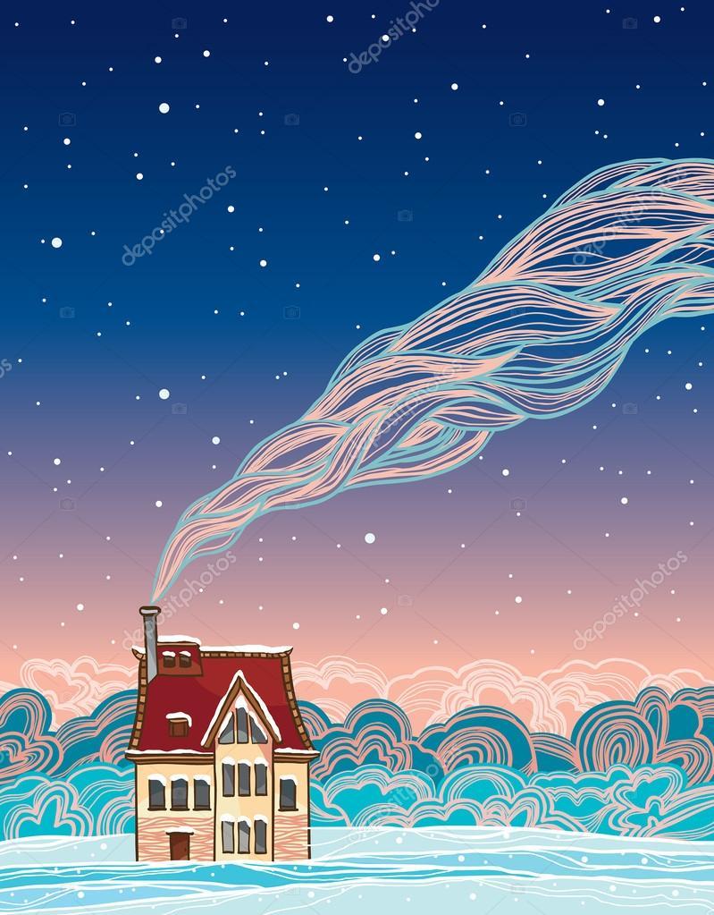 Winter. Cartoon house and smoke.