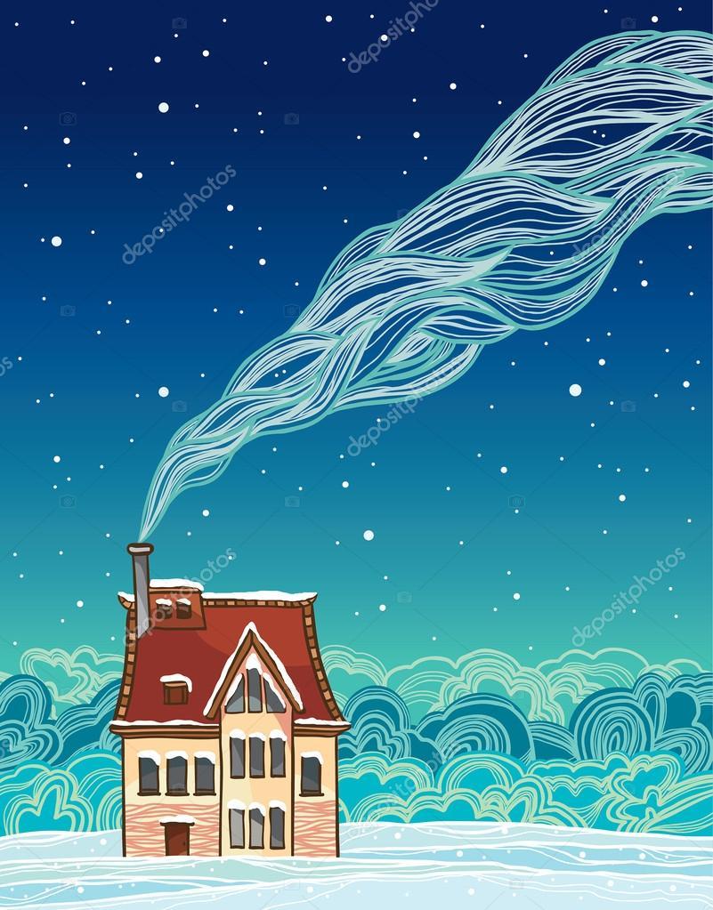 Cartoon house and smoke. Winter.