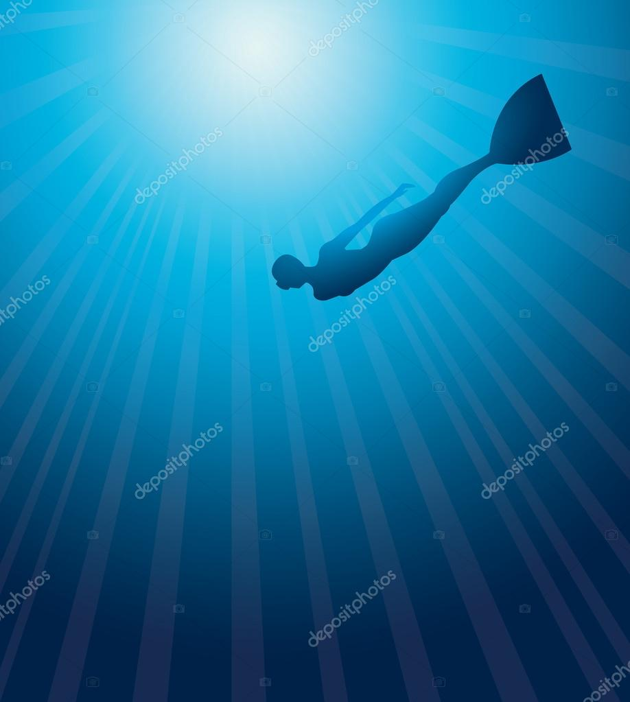 Silhuette of free diver. Underwater vector.