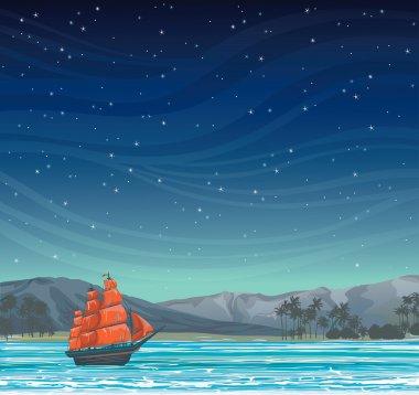 Old sailboat and island at night sky.