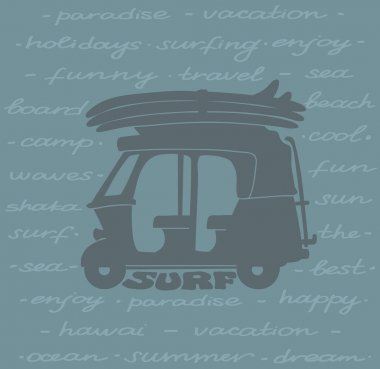 Surfing poster - silhouette of tuk tuk and surfboards.
