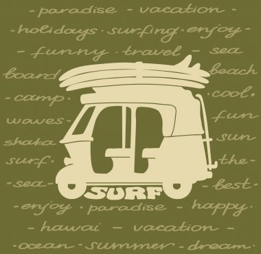 Silhouette of tuk tuk and surfboards. Surf poster.