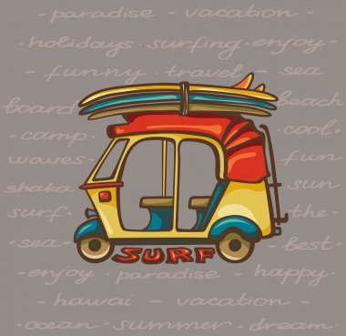 Tuk tuk with surfboards. Surfing trip.