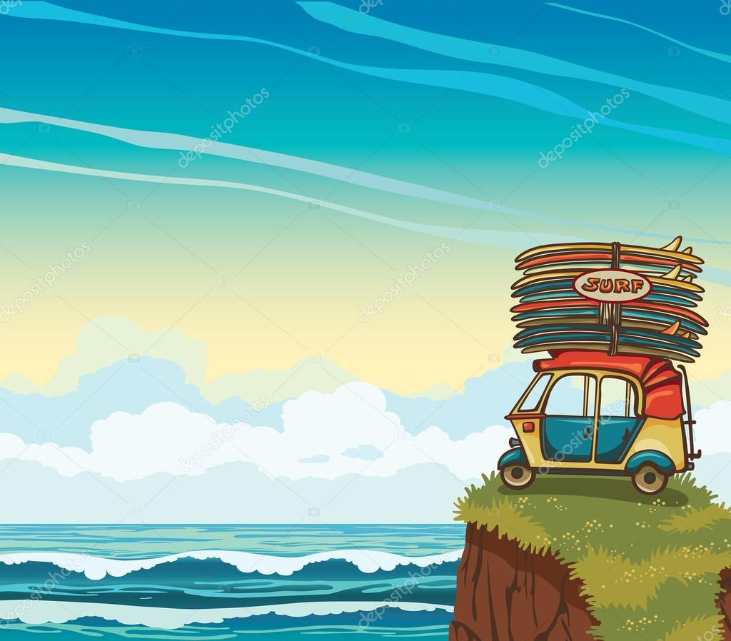 Auto rickshaw with surfboards and sea. Surfing.