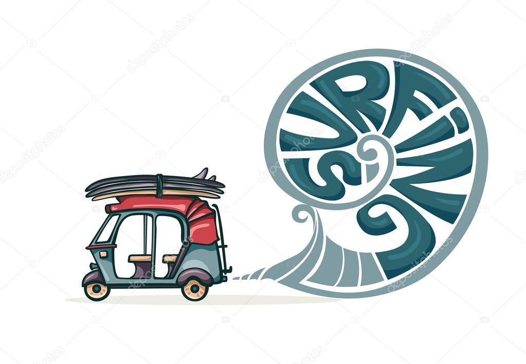 自動人力車およびサーフボードサーフィン イラスト ストックベクター