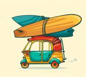 Auto rickshaw and surfboards.