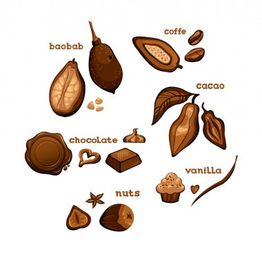 Sweet ingredients - chocolate, cocoa, vanilla, coffe and nuts.
