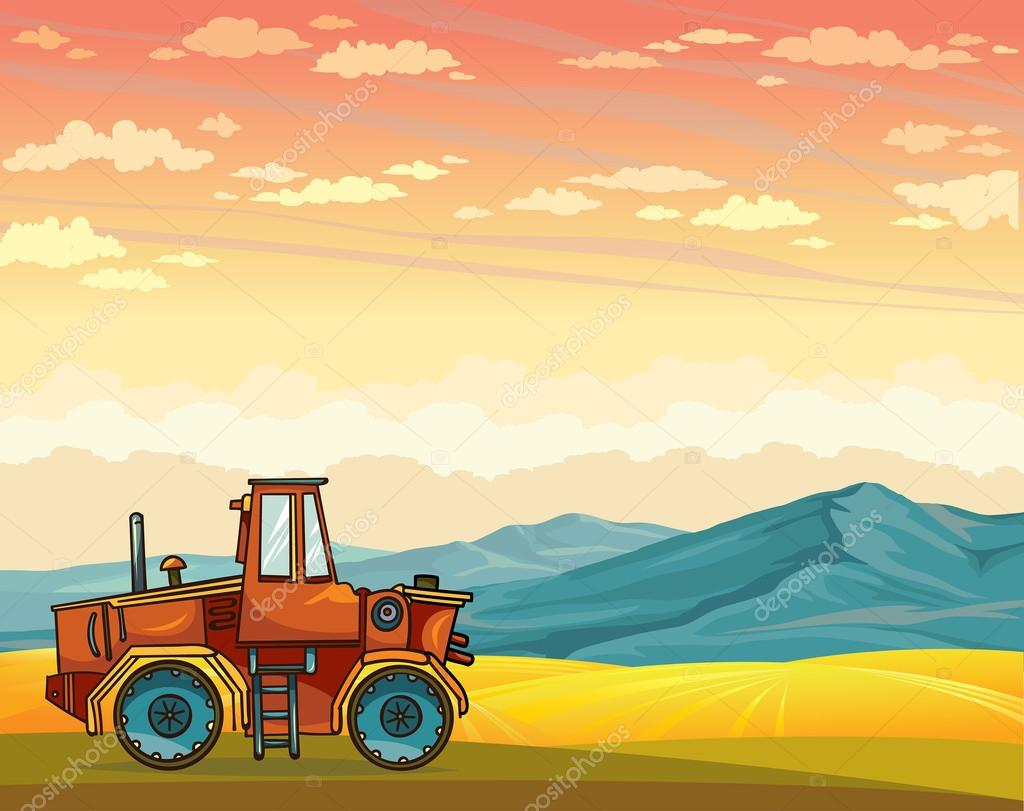 Cartoon tractor and rural summer landscape.