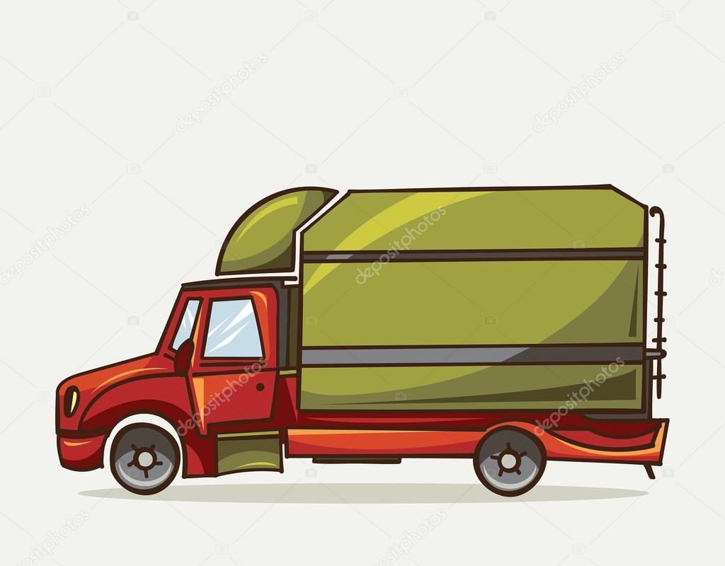 Cami n con carro verde m quina de transporte de carga - Carro de transporte ...