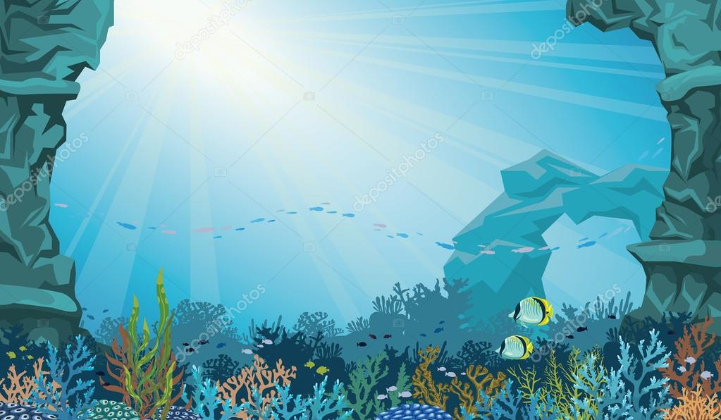 Coral reef with fish and underwater arch. Seascape.