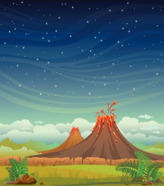 Prehistoric night landscape with volcanoes.