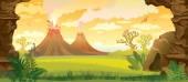 Fotografie Prehistoric landscape with volcanoes.