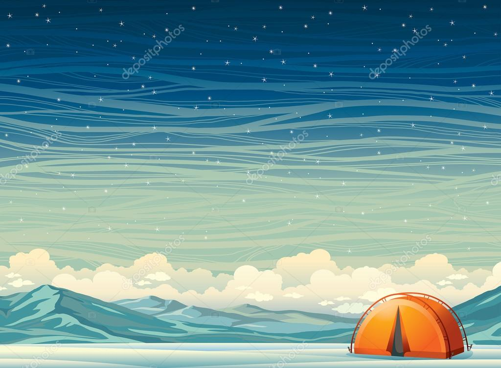 Winter landscape - travel tent and mountains at night sky.