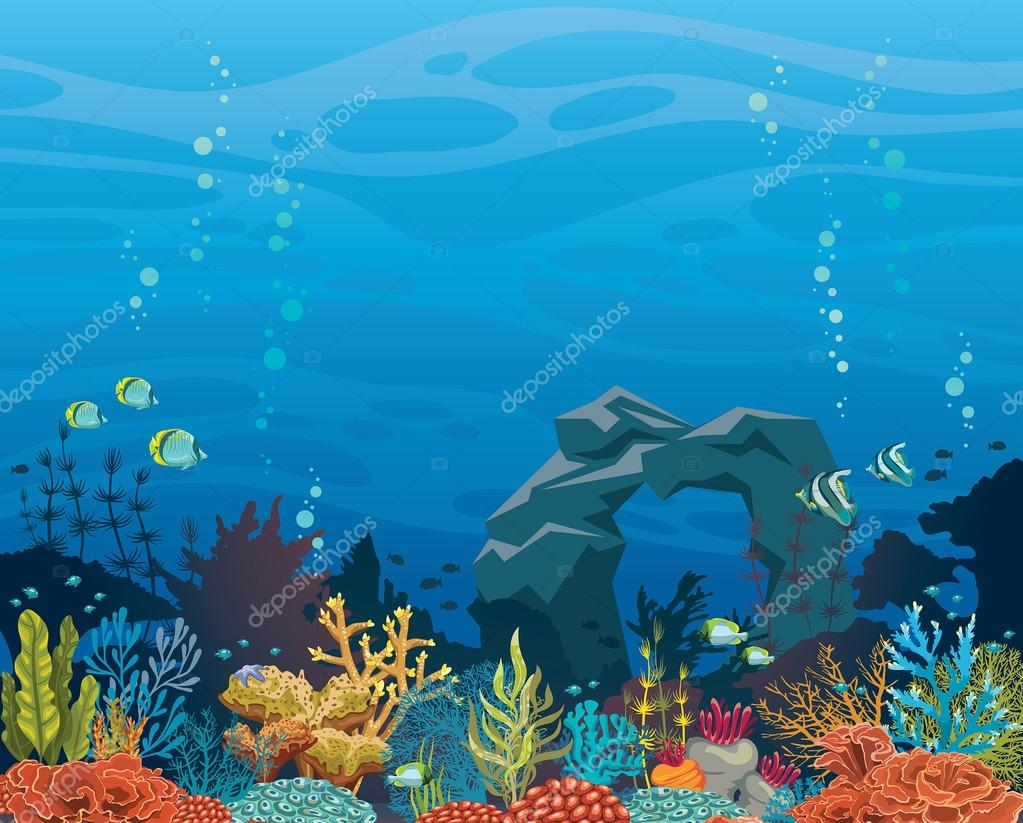 Coral reef with fish and arch. Underwater sea.