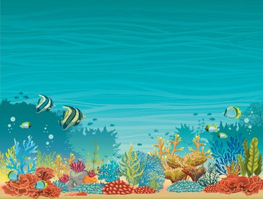 Underwater seascape - coral reef and fish.
