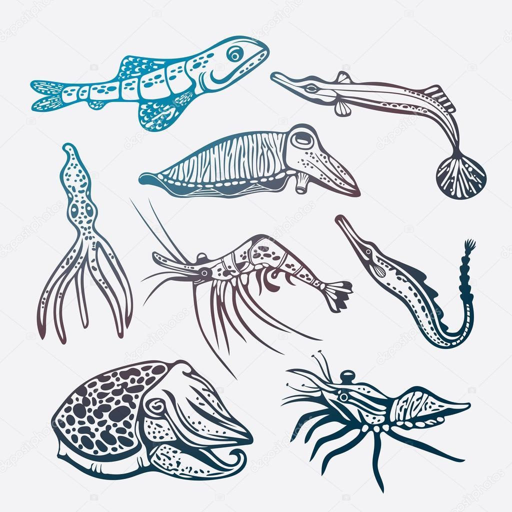Vector conjunto de criaturas submarinas — Archivo Imágenes ...