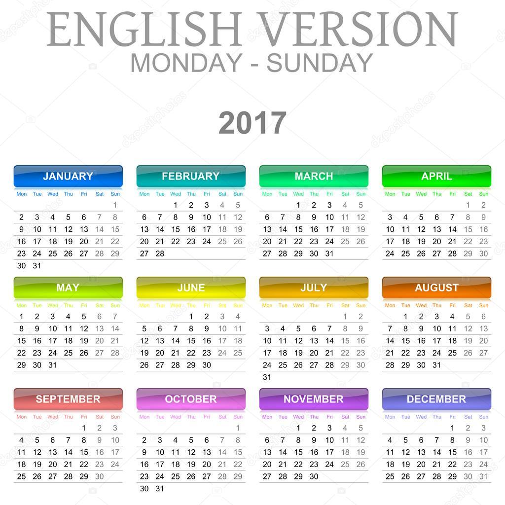 naptár angolul 2017 naptár angol nyelvű változat hétfőtől vasárnapig — Stock Fotó  naptár angolul