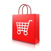 Červený nákupní tašku s vozíkem