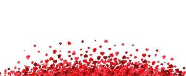 """Картина, постер, плакат, фотообои """"граница красных сердец с белым фоном с градиентной сеткой, векторная иллюстрация"""", артикул 446512444"""