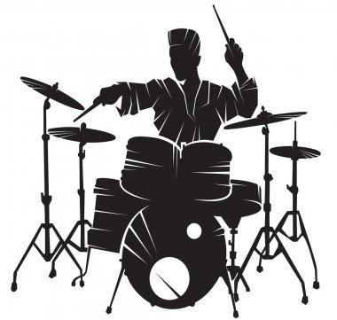 The musician playing drum setting