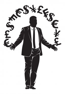 Businessman. Boss with money symbols