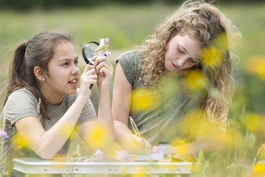 Pretty young girls having outdoor science lesson  exploring natu