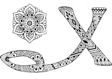 letter X decorated in the style of mehndi